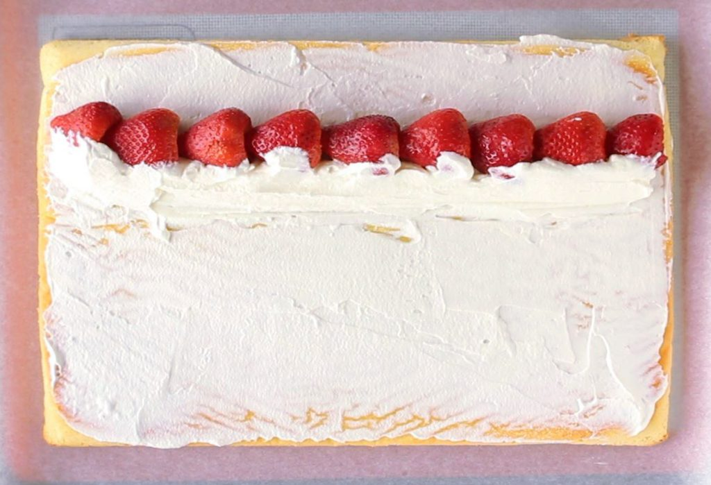 Strawberry swiss roll cake